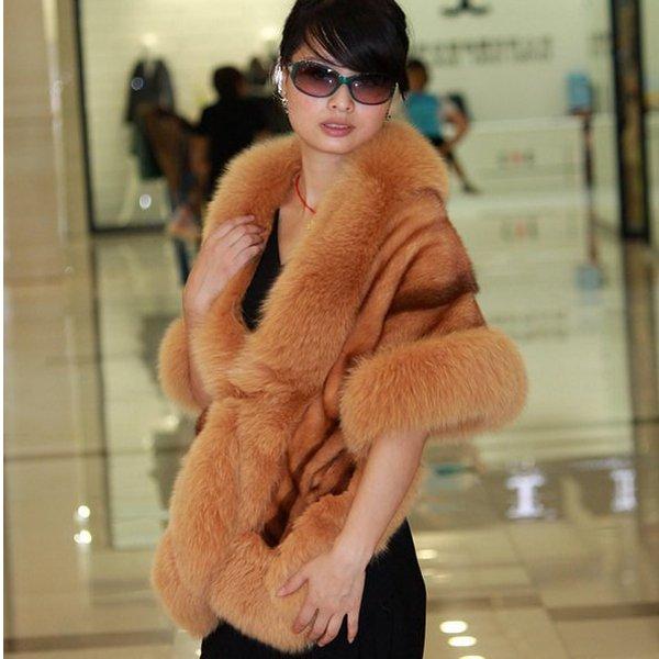 Luxuy Large Genuine REAL Mink Fur Shawl with Fox Trim, Caramel