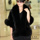 Luxuy Large Genuine REAL Mink Fur Shawl with Fox Trim, Black