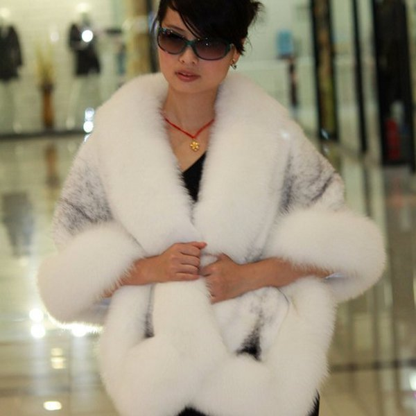 Luxuy Large Genuine REAL Mink Fur Shawl with Fox Trim, White/Grey