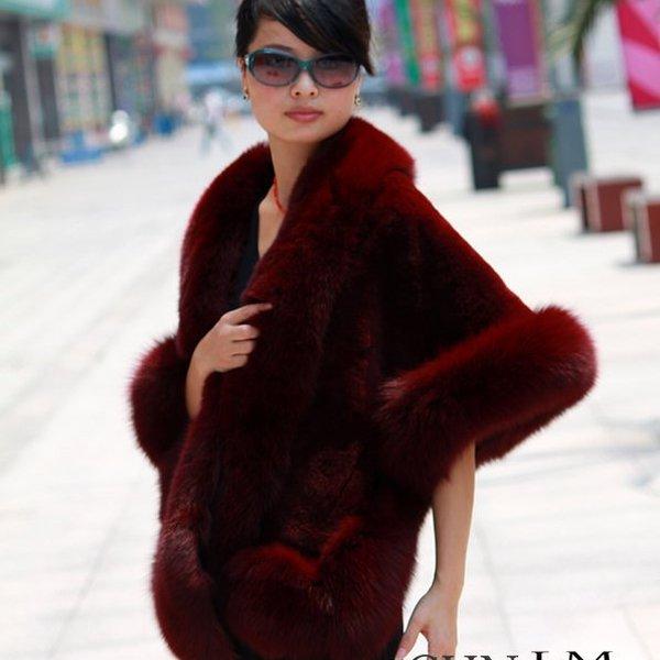 Luxuy Large Genuine Rex Rabbit Fur Shawl with Fox Trim, Dark Red