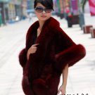 Luxuy Large Genuine Rex Rabbit Fur Shawl with Fox Trim, Dark Red