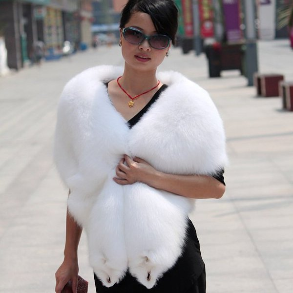 Top Quality REAL GENUINE Whole Hide Fox Fur Shawl/Scarf , White