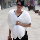 Top Quality REAL GENUINE Whole Hide Fox Fur Shawl/Scarf , White
