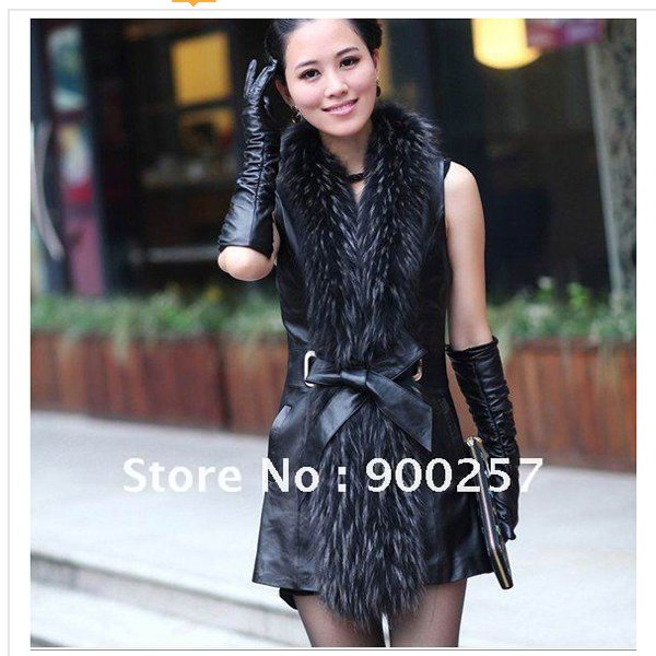 Real Long Lambs Leather Vest with Full Length Genuine Raccoon Fur Collar L
