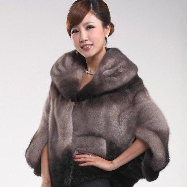 Top Qulity, Luxury, Genuine Real  Mink Fur Coat Black / Grey