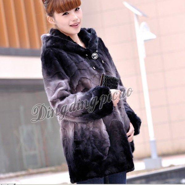 Top Qulity, Luxury, Genuine Real Hooded Mink Fur Coat Black/Liliac