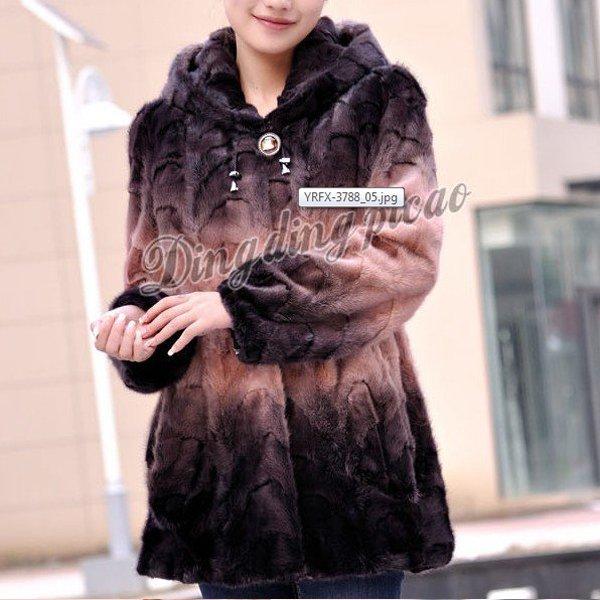 Top Qulity, Luxury, Genuine Real Hooded Mink Fur Coat Black/Peach