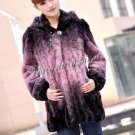 Top Qulity, Luxury, Genuine Real Hooded Mink Fur Coat Black/Pink