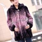 Top Qulity, Luxury, Genuine Real Hooded Mink Fur Coat Black/Pink