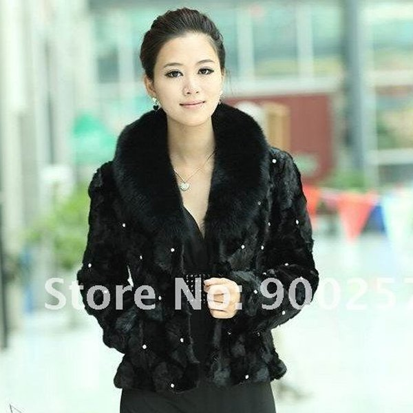 Simple and Elegant, Genuine Real Patched Mink Fur Jacket with Fox Fur Collar L