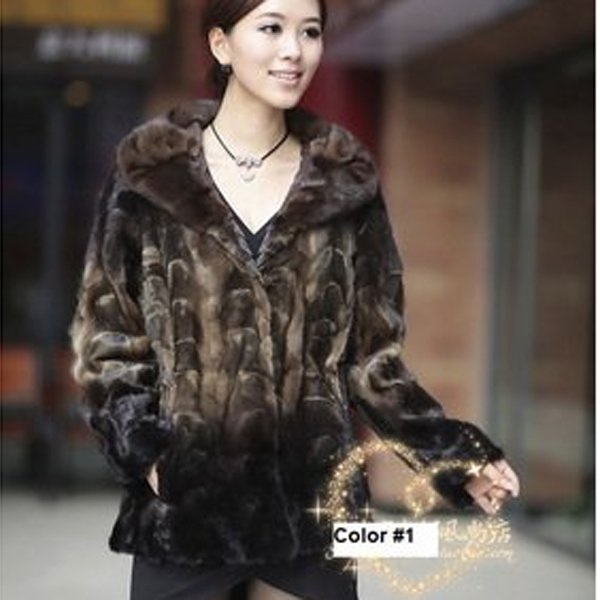 Top Qulity, Luxury, Genuine Real Mink Fur Coat / Jacket, Black/Beige, XL
