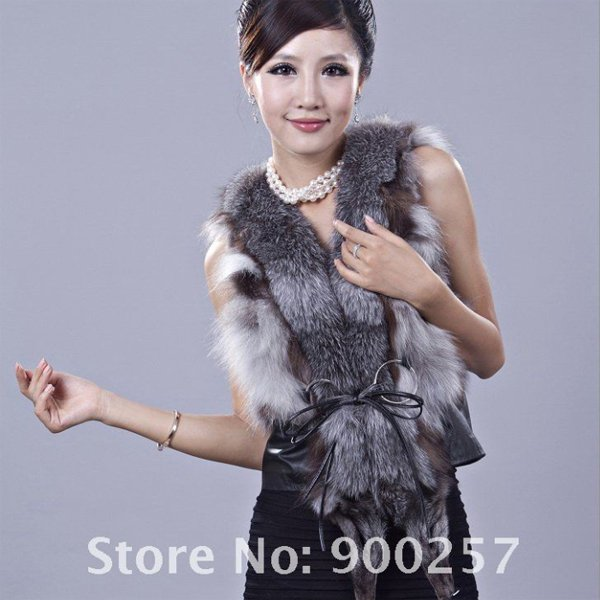 Unique, Stylish Genuine REAL Fox Fur & Leather Vest, XL