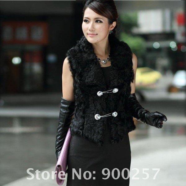 Unique Stylish Genuine Real Short Lambs Leather & Lambs Fur Waistcoat Vest, XL