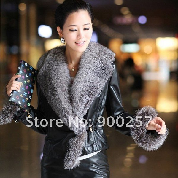 Stylish Real Leather Jacket with Real Fox fur Trims, Black L