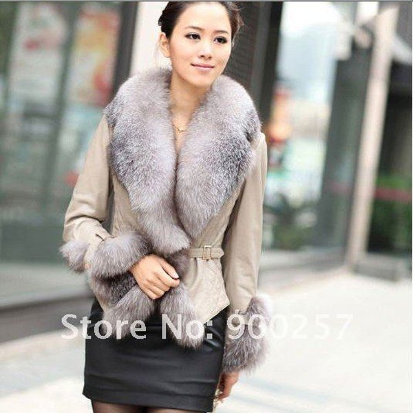 Stylish Real Leather Jacket with Real Fox fur Trims, Beige XXL