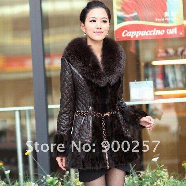 Diamond Patterned Lamb Leather Coat, REAL Mink fur Trimming & Fox Collar, Brown M