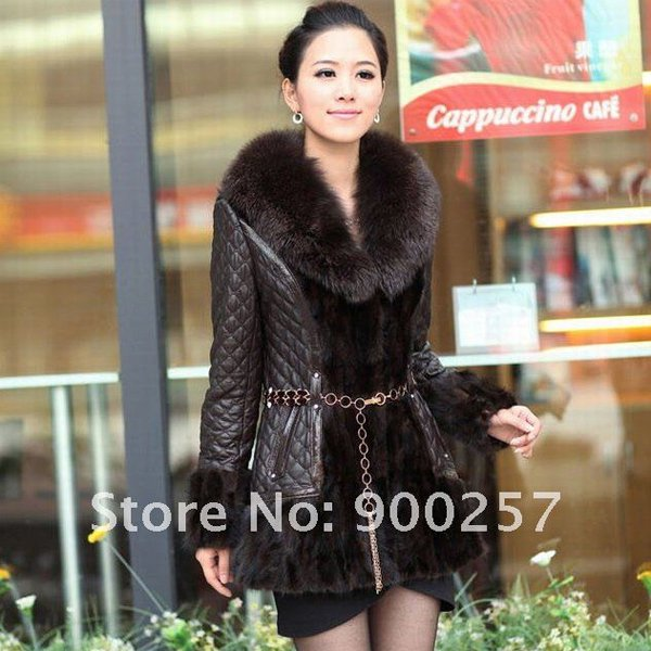 Diamond Patterned Lamb Leather Coat, REAL Mink fur Trimming & Fox Collar, Brown L