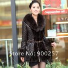Diamond Patterned Lamb Leather Coat, REAL Mink fur Trimming & Fox Collar, Brown L
