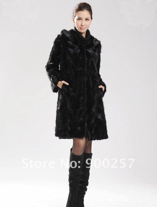 Genuine Real Black Pieced Long Hooded Mink Fur Coat L