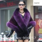 Luxuy Large Genuine REAL Mink Fur Shawl with Fox Trim Dark Purple