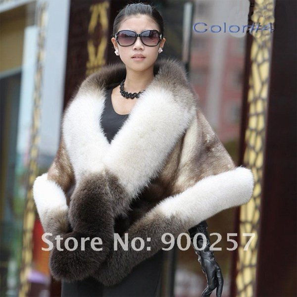 Luxuy Large Genuine REAL Mink Fur Shawl with Fox Trim White / Brown