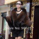 Luxuy Large Genuine REAL Mink Fur Shawl with Fox Trim Dark Brown