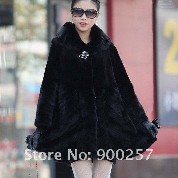 Genuine Real Rex Rabbit & Pieced Mink Fur Coat L