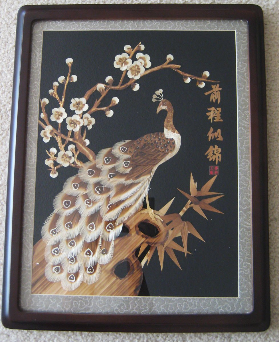 Peacock Floral Straw Painting, hand made