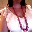 Artisan -Coral painted bead necklace