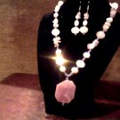 Agate pendant, Amethyst, Swarovski crystal & pearl set