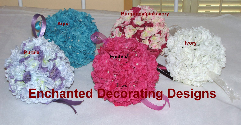 "6"" Silk Flower Kissing Ball Hydrangea Pomander Ball Wedding"