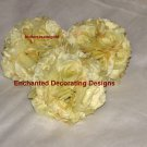 Lot of 3 Buttercream Rose Kissing Pomander Ball 5 inch Wedding Flower