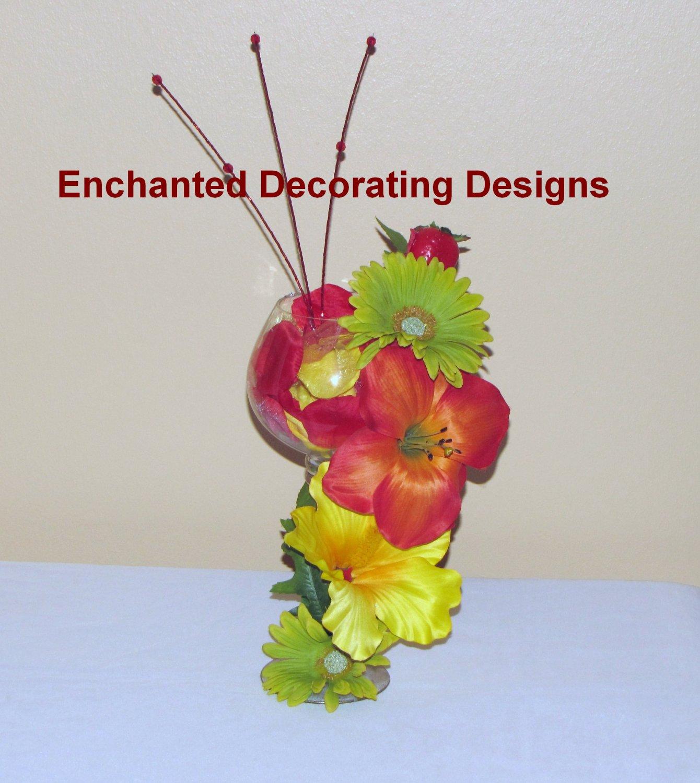 Candle Holder Decor Wedding Silk Flower Decoration Centerpiece