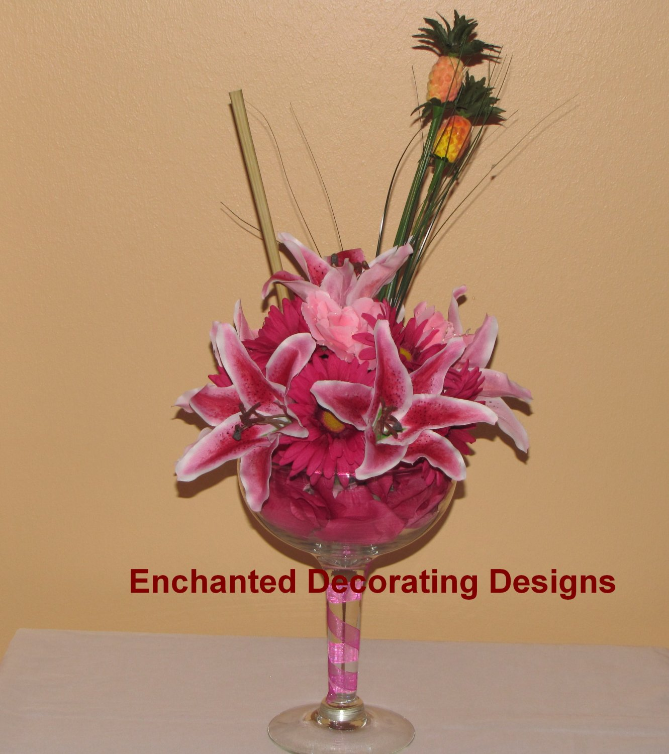Tropical Martini Wedding Flower Decoration Centerpiece