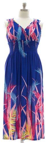 Plus Size Surplice Maxi Dress with Cinch - Blue 1X 2X 3X