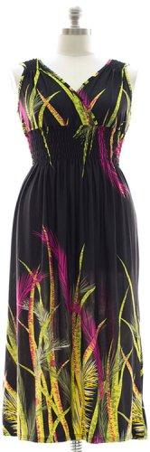 Plus Size Surplice Maxi Dress with Cinch - Black 1X 2X 3X