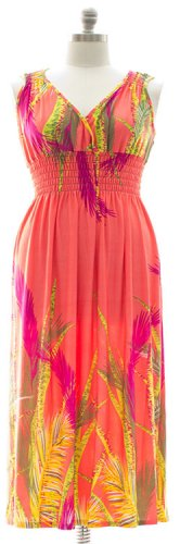 Plus Size Surplice Maxi Dress with Cinch -Coral k 1X 2X 3X