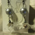 White Lucite Flower and Glass Earrings