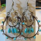 Beautiful Hammered Turquoise Earrings