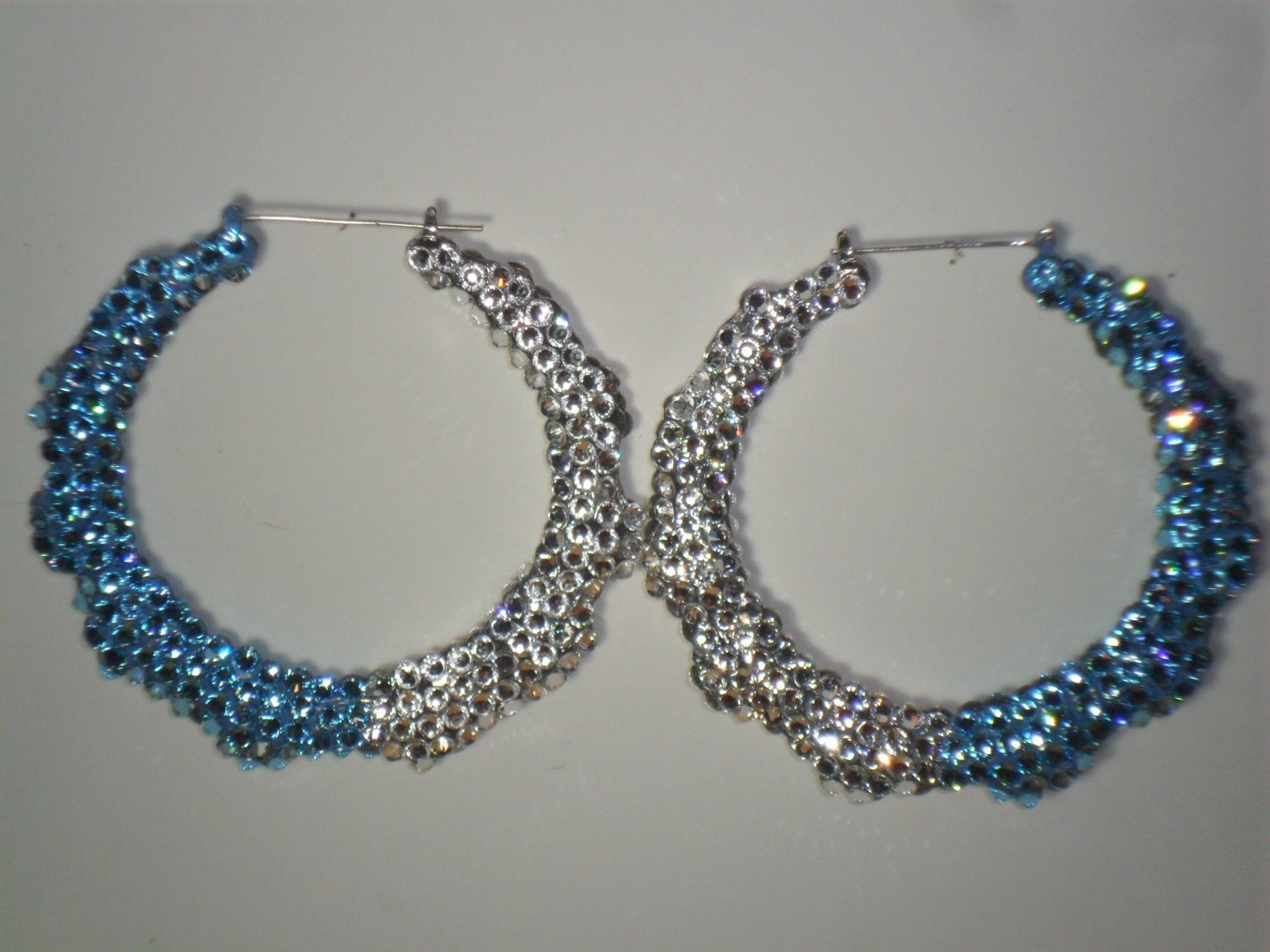 "Swarovski Crystal ""Blue Ice"" Bamboo Earrings On Sale Lowest Price"