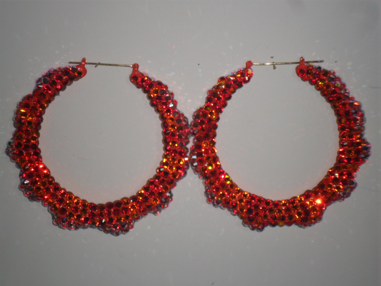 Orange Cream Sicle - Swarovski Crystal Bamboo Earrings On Sale Lowest Price
