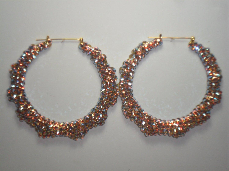 .Swarovski Iridescent Crystal Bamboo Earrings On Sale