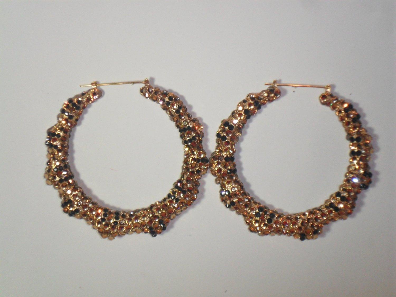 """Swarovski Bamboo Earrings 3"""" Gold"""