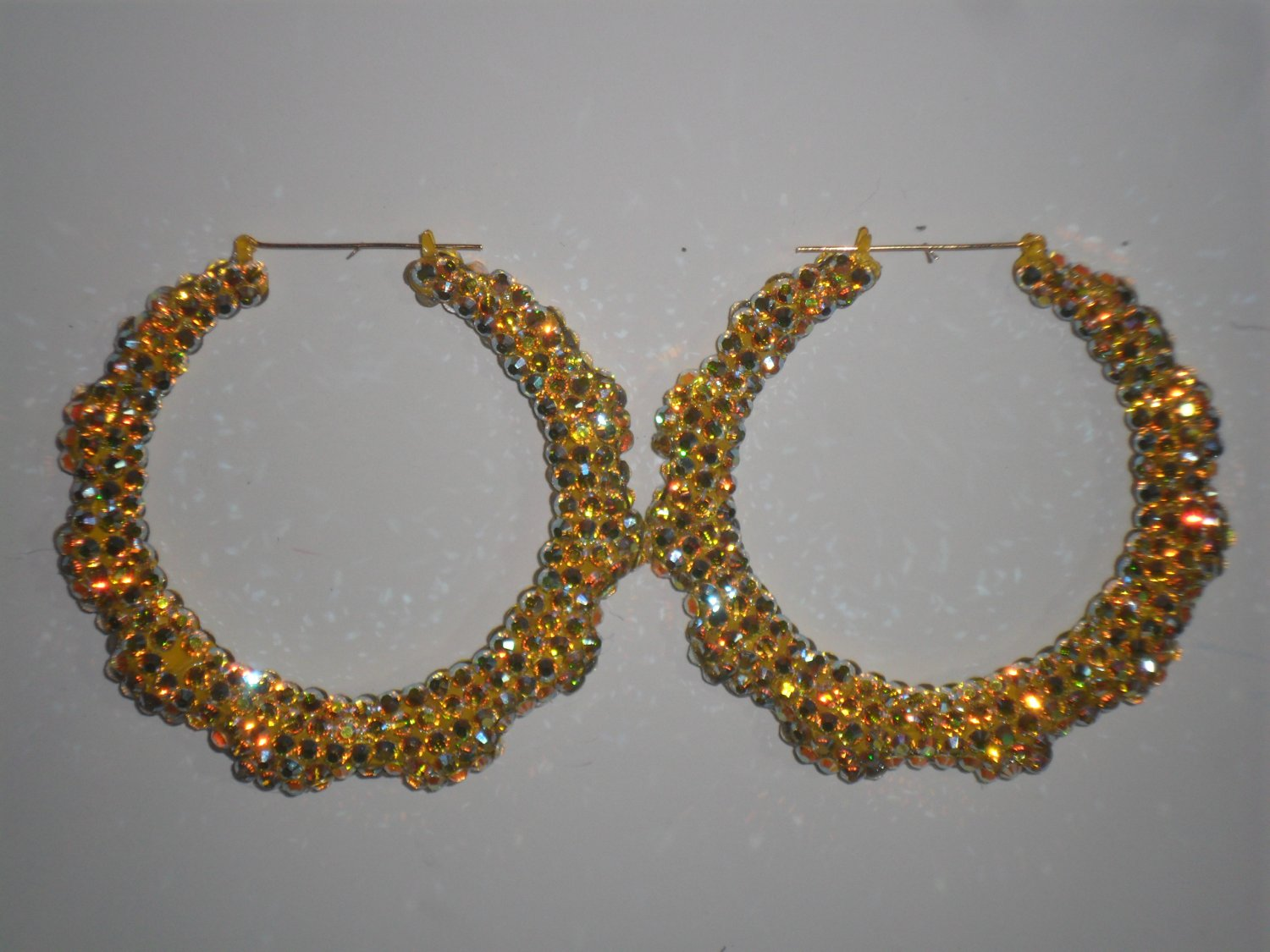 Canary's - Swarovski Crystal Iridescent Yellow Bamboo Earrings On Sale