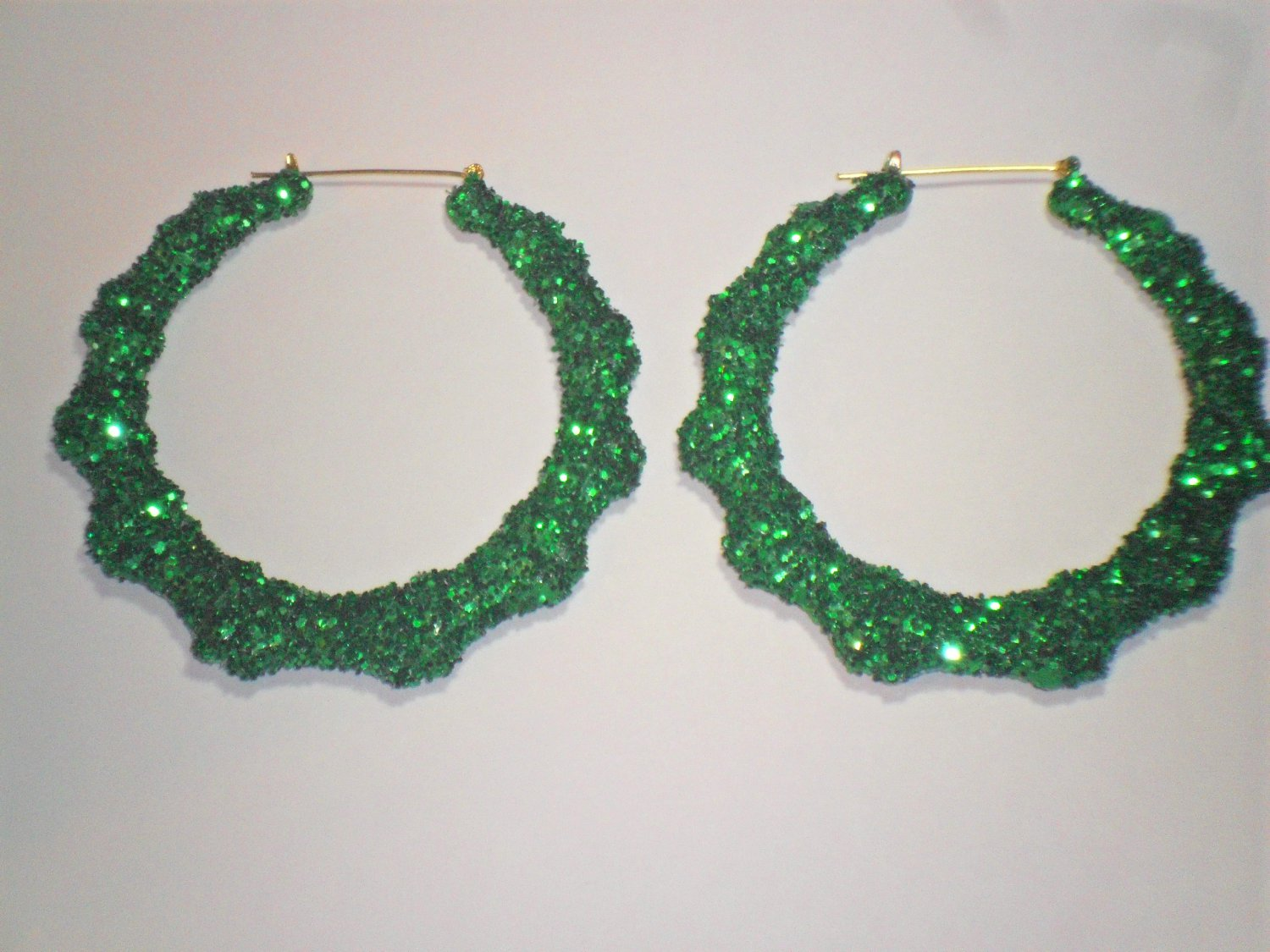 Bamboo Hoop Bling Bling Earrings Green Buy 1 Get 1 Free Mix or Match