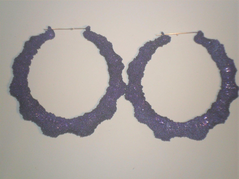 Ice Cream Bamboo Hoop Earrings Grape Purple