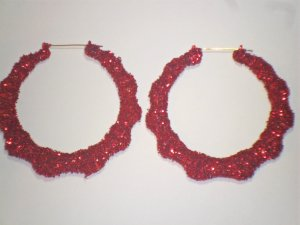 Ice Cream Bamboo Hoop Earrings Cherry Red