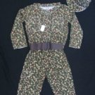 NIP BOYS 5 PC ARMY COSTUME CAMO SHIRT PANTS BELT DOG TAG & HAT SIZE AGES 3 & UP