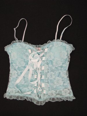 SEXY & HOT LACE BUSTIER STYLE CLUB SHIRT D RING LACE UP FRONT SIZE LARGE