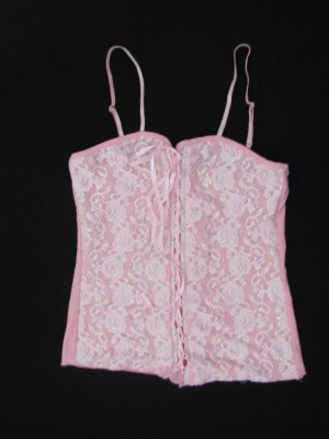 CUTE PINK BUSTIER STYLE CLUB SHIRT W/SEQUIN EMBELLISHMENTS SIZE MED